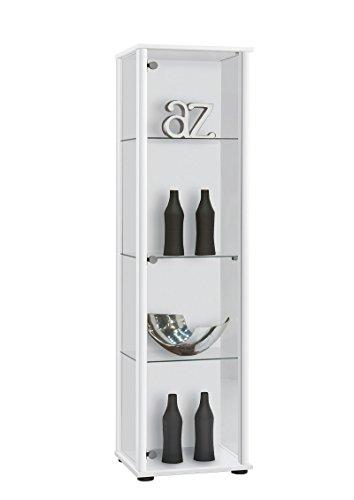 AVANTI TRENDSTORE - Bora - Vetrina con 3 Ripiani in Vetro, Corpo in Legno Laminato, Disponibile in 2 Diversi Colori, Dimensioni: Lap 42x171x36 cm (Bianco)