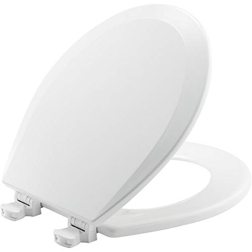 BEMIS 500EC 390 Toilet Seat with Easy Clean & Change Hinges, ROUND, Durable Enameled Wood, Cotton White