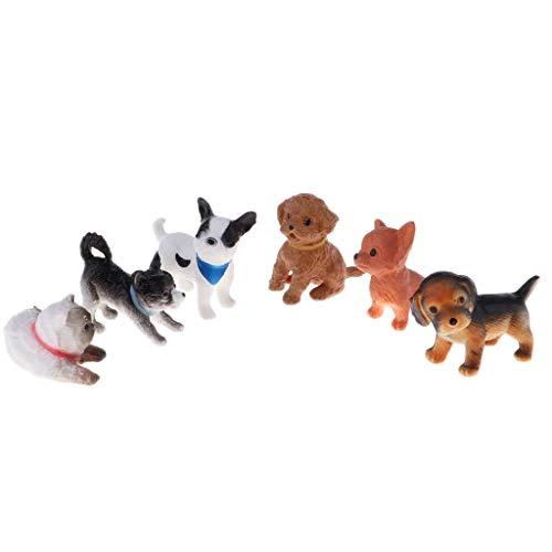 sharprepublic 6X Miniatura Mascotas Perro Gato Figuras Resina Trabajo Artesanal 1/12 Decoración de Casa de Muñecas