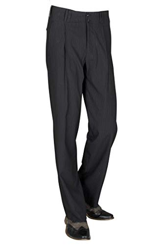 Herren Bundfaltenhose mit Weißen Nadelstreifen Retro-Vintage STYL 50er Jahre Mode Herren Model Swing Größe 52