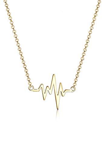 Elli Damen Schmuck Halskette Kette mit Anhänger Herz Herzschlag Liebe Freundschaft Liebesbeweis Silber 925 Vergoldet Länge 45 cm