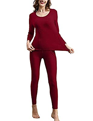 COLORFULLEAF Women's Thermal Underwear Set Cotton Long Johns Base Layer Top & Bottom Pajama (Red, XL)