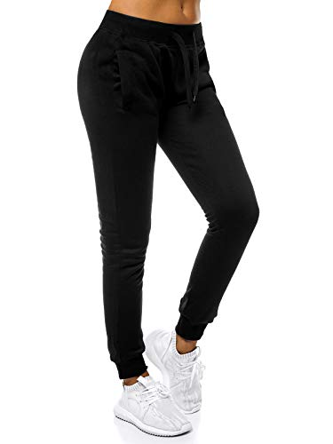 OZONEE Damen Jogginghose Hose Trainingshose Sporthose Freizeithose Motiv Damenhose Fitnesshose Sweathose Sweatpants Joggpants Fußballhose JS/CK01 SCHWARZ S