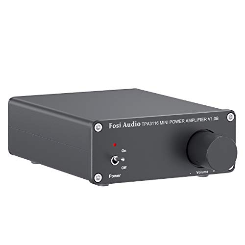 2 Channel Amplifier Stereo Audio Amp Mini Hi-Fi Class D Integrated TPA3116 Amp for Home Speakers 50W x 2, with 19V 4.74A Power Supply - Fosi Audio V1.0B Black