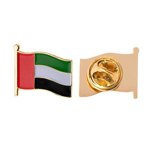Vereinigte Arabische Emirate UAE Land Flagge Anstecknadel Emaille aus Metall Souvenir Hat Herren Frauen Patriotische Emirati Emirian Emiri (Waving Flag Revers PIN)