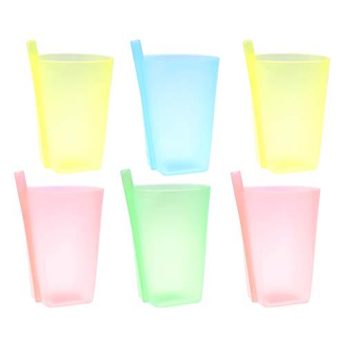 HEALLILY 6 Tazas de Colores para Sorbos con Pajita Incorporada para Niños Pequeños Vasos de Plástico Apilables para Niños con Pajita