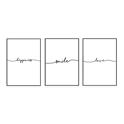 kgpack'Smile, love, happiness' Posters Lámina en maravilloso papel A4 sin marco Póster en blanco y negro para la decoración del hogar de la oficina