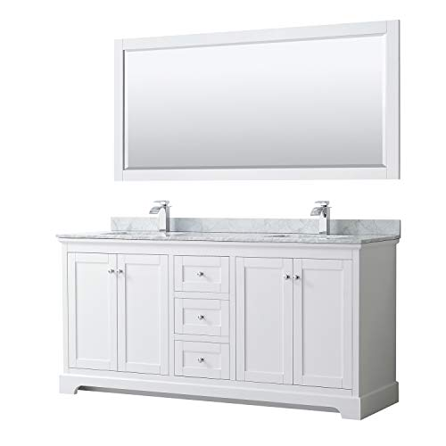 Wyndham Collection Avery 72 Inch Double Bathroom Vanity in White, White Carrara -
