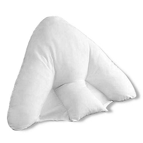 Super Soft Anti Allergic Batwing Reading, Lumber and Neck support Pillow in White