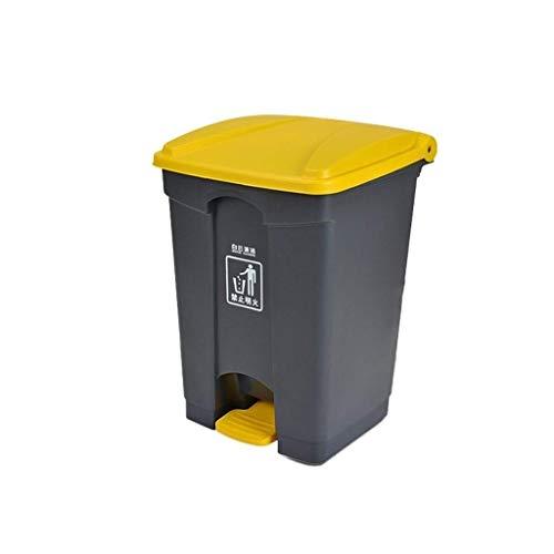 DGHJK Papelera con Pedal, Cesta de Limpieza para jardín de Calle al Aire Libre, Cesta de Limpieza Profesional para escuelas (Color: Amarillo, tamaño: 87L)