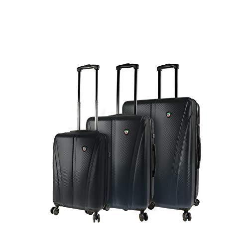 New Mia Toro Italy Usini Hardside Spinner Luggage 3pc Set, Black, One Size