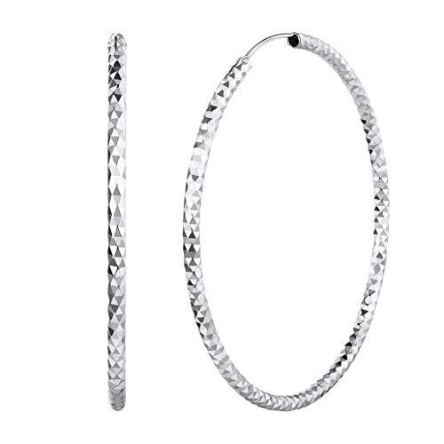Silvora Plata Pendientes 70MM Aro grandes Pendientes XL para mujeres madre novia Aretes redondos hoop huggie