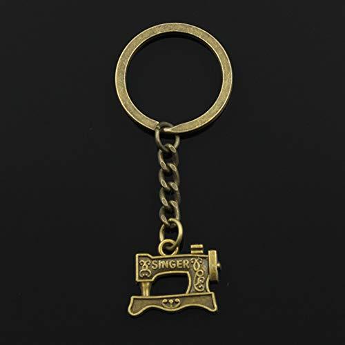 YCEOT Mode 3Cm sleutelring metaal sleutelhanger sleutelhanger sieraden antiek brons zilver gekleurde naaimachine 20X17Mm hanger