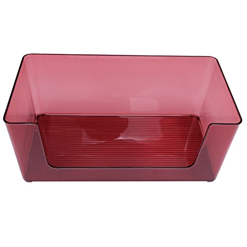 HEMOTON Makeup Organizer Bin Plastic Clear Countertop Cosmetic Lagring Container Vanity Snacks Sundries Box För Badrums Toalettkontor Skåp Skrivbord Röd