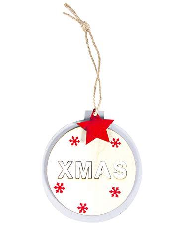 Jueshanzj Weihnachtsdekoration Hölzern Schneeflocke Weihnachtstürdekoration Runde mit Stren Holz Ornament Weihnachtsbaumanhänger Weihnachten 10cm