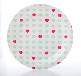 10 Sweetheart Papp-Teller mit Türkis-Blauen und Fuchsia-Rosa Herzen