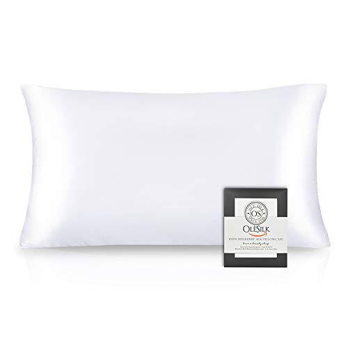 OLESILK 100% Seide Kissenbezug Kissenhülle Haar- und Hautpflege mit Reißverschluss 16 Momme 1 Stück Weiß 40×80cm