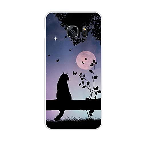 Desconocido Linda Impresión Night Cat Teléfono Conchas Pc para Niño Compatible con Samsung Galaxy S7