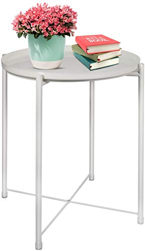 LeChamp Modern Metal Side Table, Round Removable Tray Coffee Table, Detachable Anti-Rust and Waterproof Sofa End Table, Small Bedside Snack Table for Living Room, Bedroom, Garden, Balcony White
