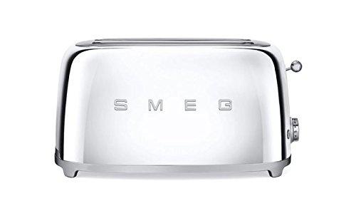 Smeg TSF02SSUS 50's Retro Style Aesthetic 4 Slice Toaster, Chrome
