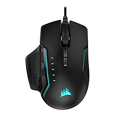 Corsair Glaive PRO RGB, Optical Gaming Mouse (18,000 DPI Optical Sensor, Interchangeable Grips, 3-Zone RGB Multi-Colour Backlighting, 7 Programmable Buttons), Aluminum