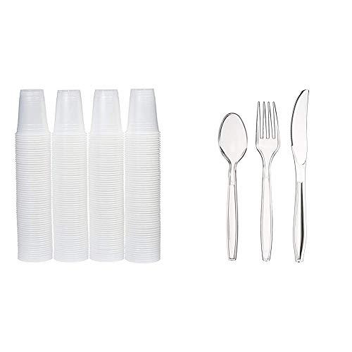 AmazonBasics - Vasos de plástico desechables, 473 ml - Pack de 240, Translúcido + Juego de 360 cubiertos desechables (plástico, 180 tenedores, 120 cucharas, 60 cuchillos), Apta para lavavajillas