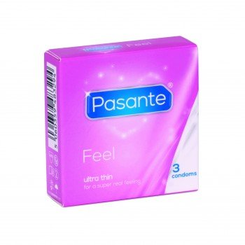 Pasante Sensitive Feel, gefühlsechte Kondome, extra dünn und feucht, für intensives Empfinden - 1 x 3 Stück (3er Packung)