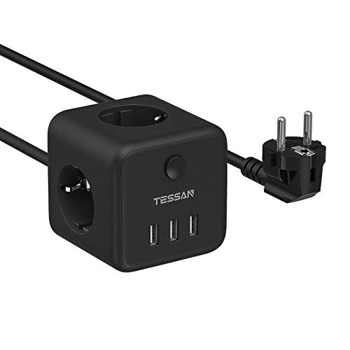 TESSAN Cubo Regleta Enchufes con 3 Tomas y 3 USB Tomas, 6 en 1 Alargador Enchufe Multiple para hogar y oficina, USB Regleta Enchufe Cable 1,5M, Negro