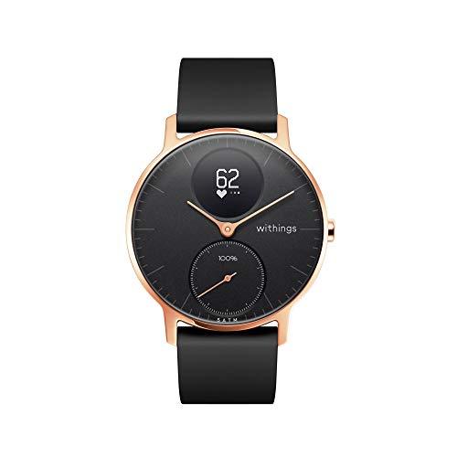 Withings Steel HR Hybrid Smartwatch - Reloj de fitness con frecuencia cardíaca y medición de actividad, 36 mm - Negro, correa de silicona negra