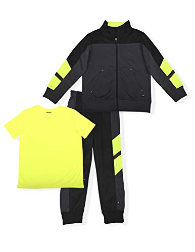 Cheetah Boys' 3 Piece Jogger Set with Jacket, T-Shirt and Sweat Pants, Sports Tracksuit