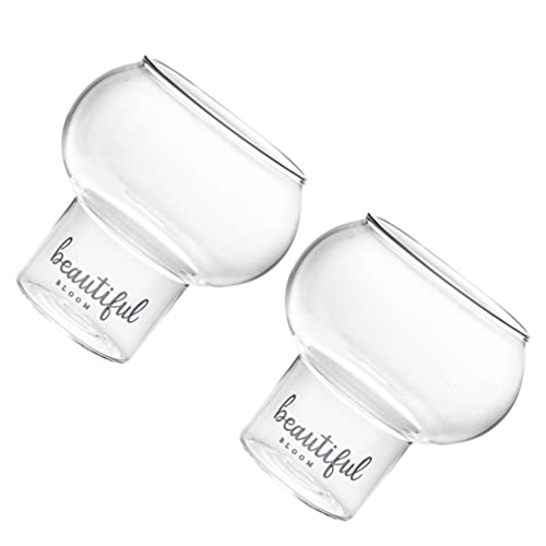 Yardwe 2Pcs Cocktail Glass Clear Glass Cocktail Goblet Martini Drinking Mug Pudding Cup Dessert Bowl for Vodka Gin Wine Ice Cream Fruit Green Tea 300ml