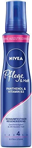 NIVEA Espuma de cuidado y fijación extra fuerte (150 ml), con pantenol y vitamina B3, espuma voluminizadora para peinados flexibles con duración 24 horas.