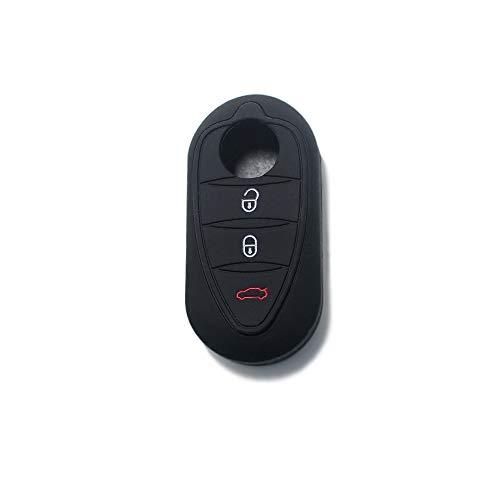 [Portachiave] Guscio Cover Chiave in Silicone per Telecomando Auto Alfa Romeo 3 tasti (vedere compatibilità nelle foto) MiTo Giulietta Brera 159 (NERO)