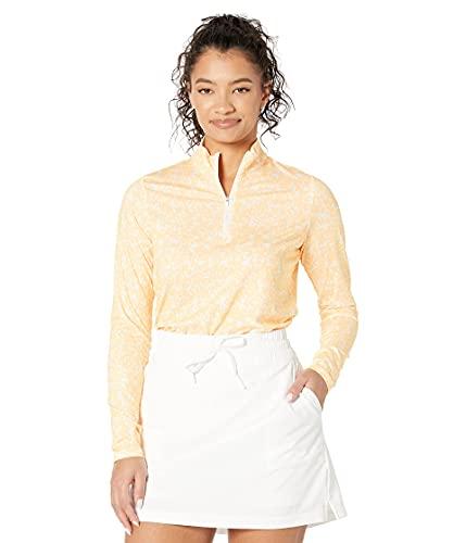 adidas Golf Women's Printed Primegreen Aeroready Quarter Zip Pullover, White/Acid Orange, Extra Small