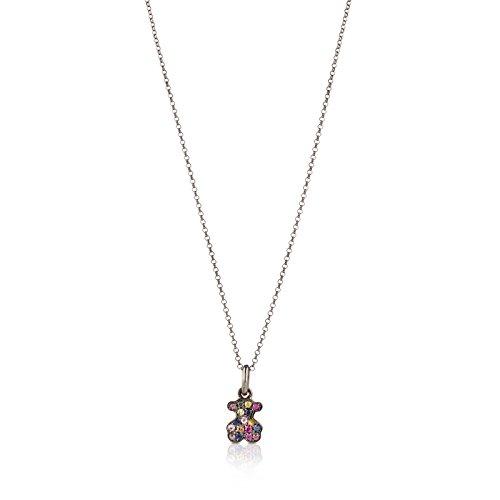 Collar TOUS Fantasy en plata de primera ley pavonada y zafiros naturales multicolor, Largo 45 cm, Colgante 1,05 cm