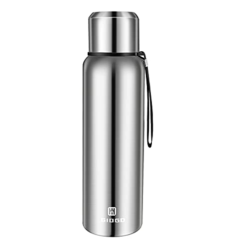 Insulated Thermo Bottle 33oz with cup Leakproof stainless water flask for coffee tea hot and cold drink.(Silver,1000ml)