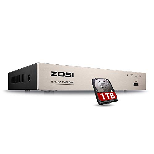 ZOSI 1080P 4Channel 4-in-1 HD-TVI Security Video DVR Recorder System with 1TB Hard Drive for 960H/720P/1080P CCTV Surveillance Cameras Support Motion Detection,Remote Viewing