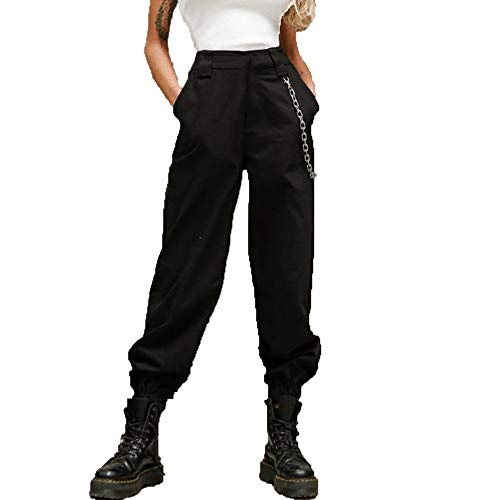 RUEWEY Women High Waist Hip Hop Dance Tapered Cargo Jogger Pants Trousers Harem Baggy Jogging Sweatpants (S, Black)
