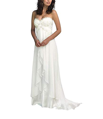 SZWT Nitree Sweetheart Chiffon Long Beach Wedding Dress Bridal Gown Bride Marry Party White 12