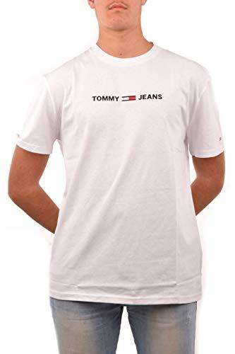 Tommy Jeans Tjm Straight Small Logo Tee Maglietta Sportiva, Bianco (White Ya2), XL Uomo