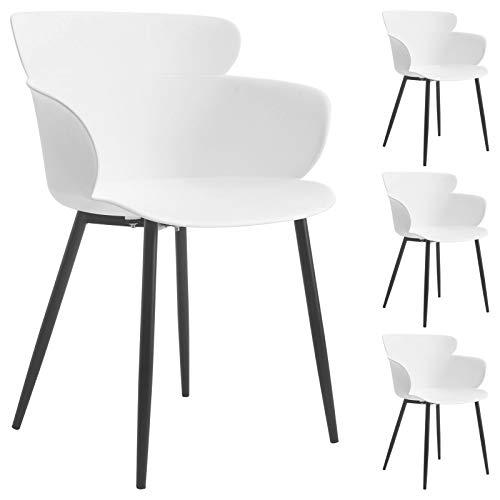 IDIMEX Esszimmerstuhl Catch, Stühle Esszimmer Küchenstuhl l im 4er Set mit Sitzschale und Armlehne aus Kunststoff in weiß, modernes Design
