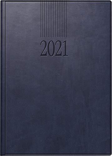 rido/idé 7028900301 Buchkalender ROMA 1, 1 Seite = 1 Tag, 142 x 200 mm, Kunstleder-Einband West blau, Kalendarium 2021