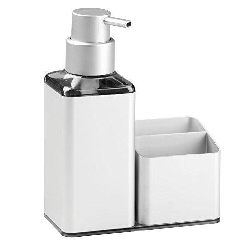 Price comparison product image iDesign Metro Ultra Rustproof Aluminum Soap Dispenser Pump and Sponge Caddy Organizer For Kitchen Countertops - Square,  Silver