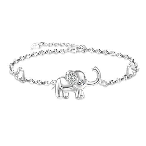 Pulsera de elefante para mujer Joyería de elefantes de plata de ley 925