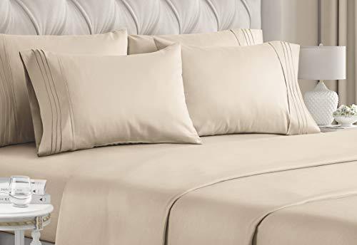 Jogo de cama tamanho Queen – Conjunto de 6 peças – Lençóis de cama de hotel luxuoso – Extra macios – Bolsos profundos – Ajuste fácil – Lençóis respiráveis e refrescantes – Sem rugas – Confortável – Lençóis de cama em creme – Lençóis Queens – 6 peças