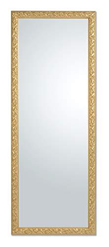 MO.WA Specchio da Parete Oro Cornice in Legno Barocco cm. 55x145 da Appendere Verticale e Orizzontale Fatto a Mano. Made in Italy.