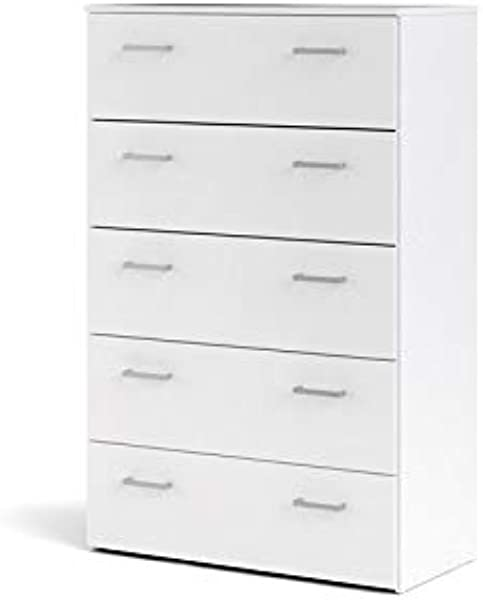 Tvilum 704224949 Space 5 Drawer Chest White