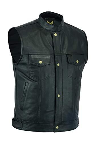 Chaleco de piel de alta calidad con botón de latón de SOA