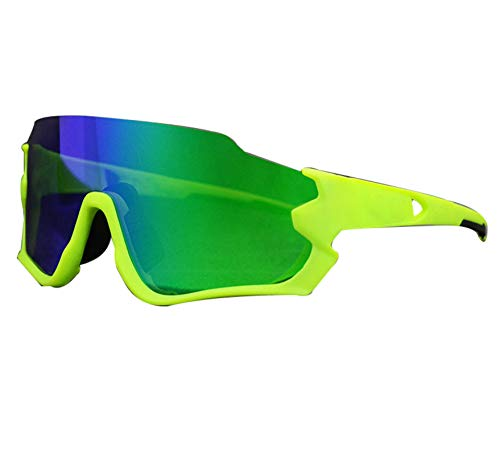 AILINSHA Polarizado con 5 Lentes Gafas de Sol Gafas para Hombre, Gafas UV400 PhotoChromic Motorcycle Bike Goggles Road a Prueba de Viento Green