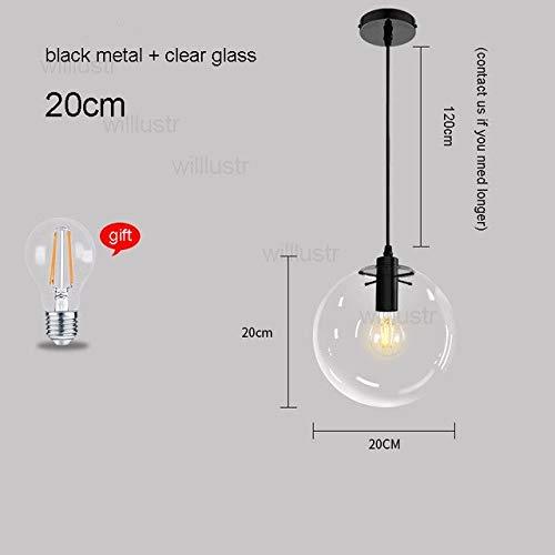 5151BuyWorld Lamp lamp, transparant, hanger van glas, helder, Mondial, LED, kristal, lampenkap, kogel, licht, restaurant, hotel, verlichting, plafondlamp, zwart 20 cm en zwart 20 cm